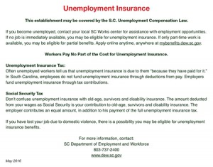 South Carolina Unemployment Insurance Notice Revised