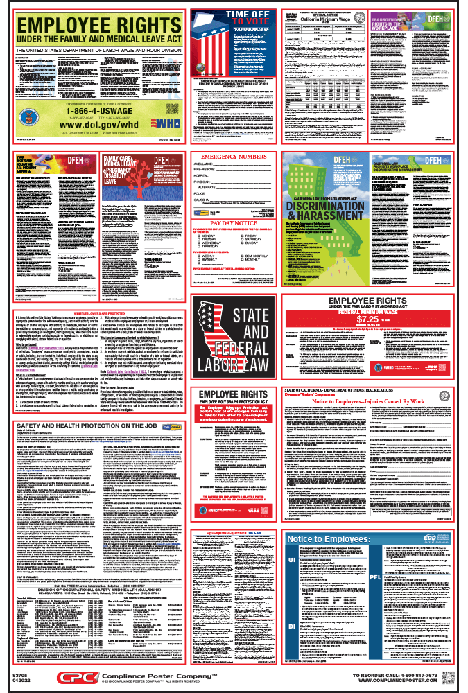 California labor law posters 2018 free shipping orders 50 california labor law poster sciox Images