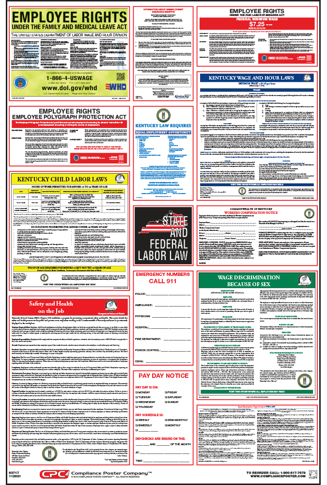 Kentucky labor law posters 2018 free shipping 50 kentucky labor law posters sciox Images