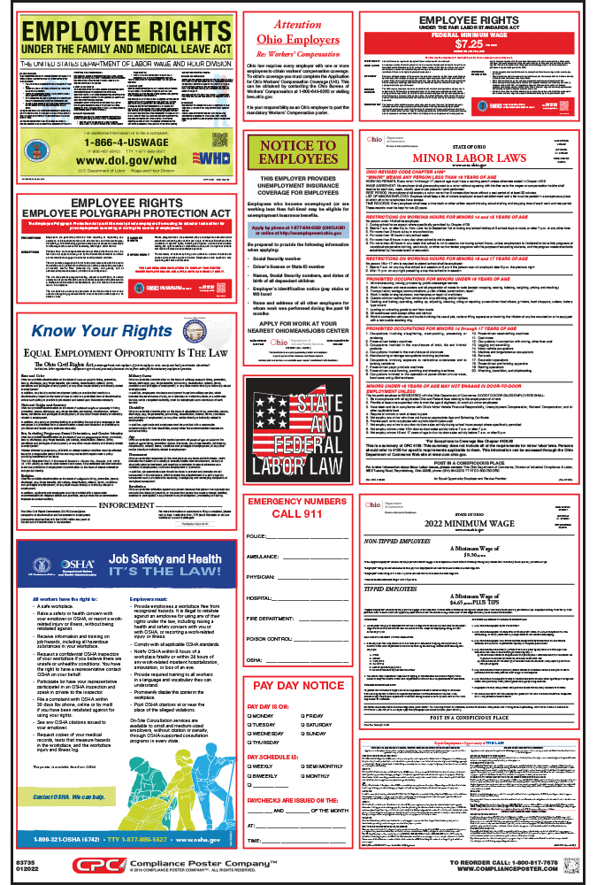 Ohio Labor Law Posters 2018 | Free shipping $50+