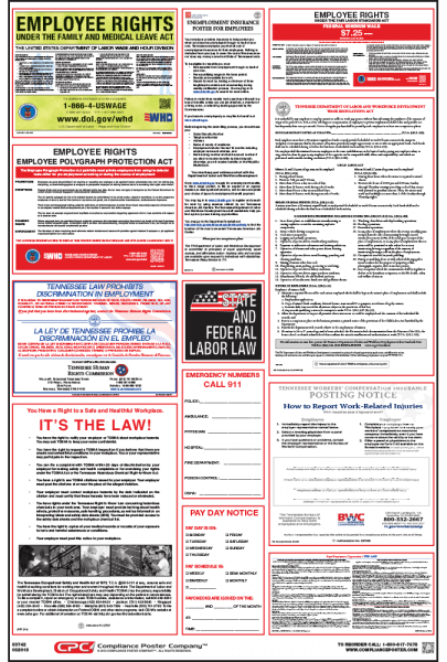 Tennessee Labor law compliance Poster