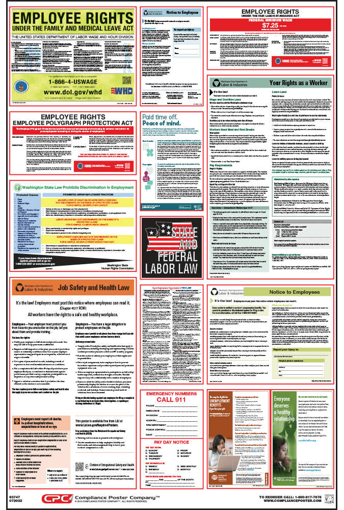 Washington state labor law posters 2018 compliant free ship washington state labor law posters sciox Images