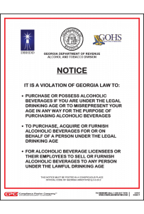 Georgia Alcohol Drinking Age Poster
