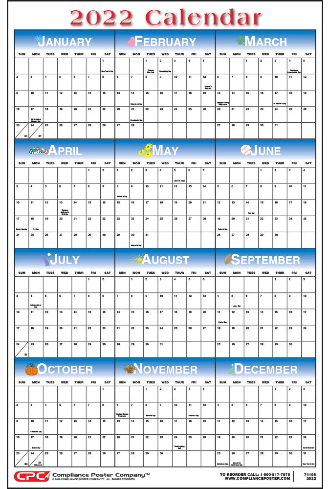 12 month calendars compliance poster company