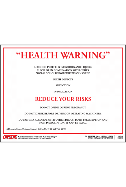 Hillsborough County Alcohol Health Warning Poster