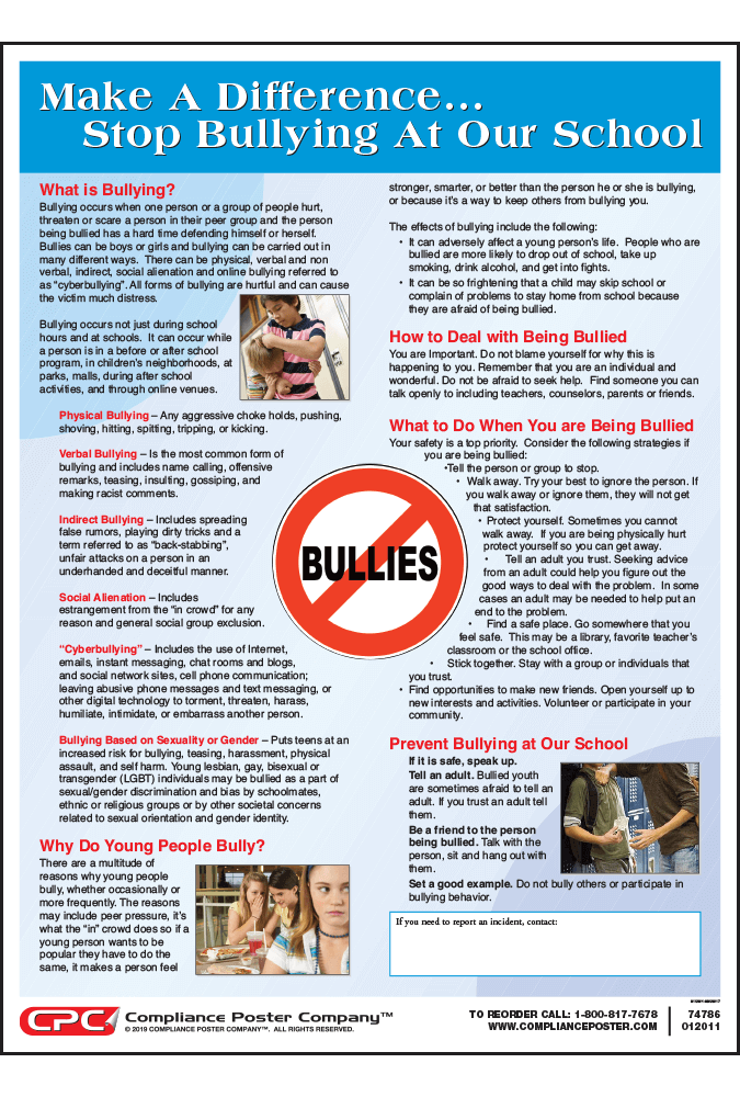 Stop Bullying in Schools Poster - Compliance Poster Company