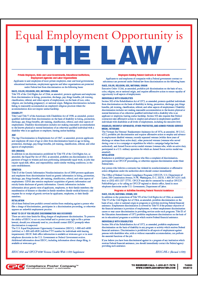 """""""EEO is the Law"""" EEOC Poster - Compliance Poster Company"""