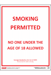 Georgia Smoking Permitted 18+ Poster