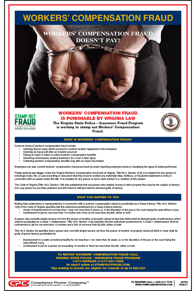 New Virginia Workers Comp Fraud Poster Now Available Compliance