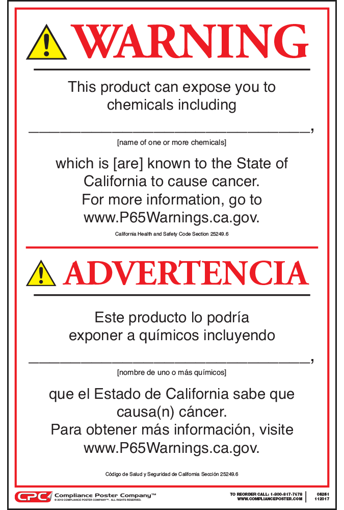 California Residents Proposition 65 Warning FAQs. Share this NOWledge: So this can explain why sometimes you may see a California Prop 65 warning on a product sold in California but no warning on the same product sold elsewhere. The products are not different; it's just that Prop 65 warnings are required for sales to California consumers.